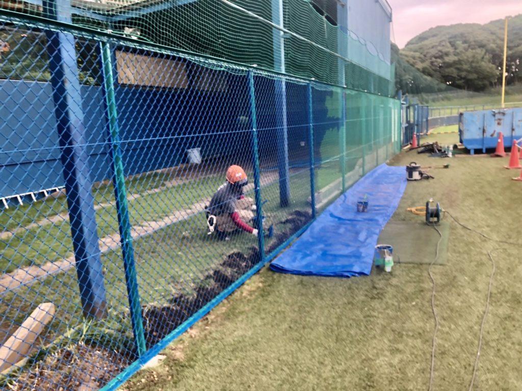 野球場フェンス塗装